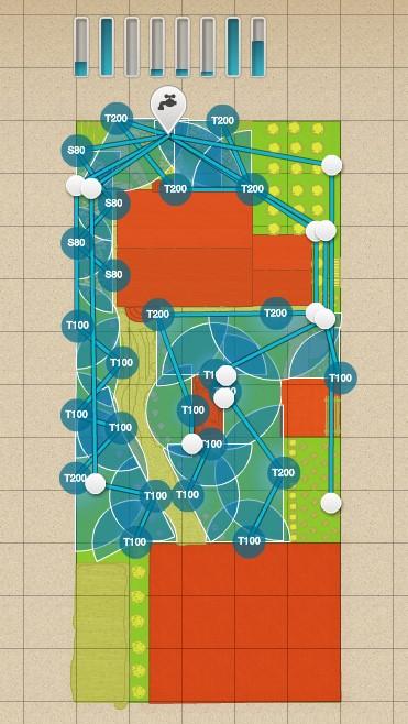 Схема размещения дождевателей